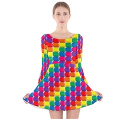 Rainbow 3d Cubes Red Orange Long Sleeve Velvet Skater Dress