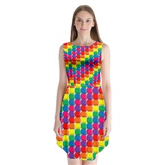 Rainbow 3d Cubes Red Orange Sleeveless Chiffon Dress