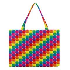 Rainbow 3d Cubes Red Orange Medium Tote Bag
