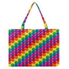 Rainbow 3d Cubes Red Orange Medium Zipper Tote Bag