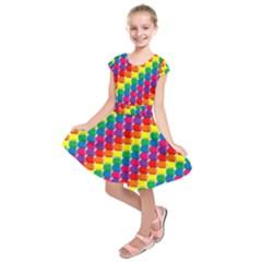 Rainbow 3d Cubes Red Orange Kids  Short Sleeve Dress
