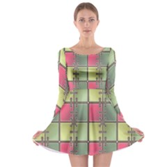 Seamless Pattern Seamless Design Long Sleeve Skater Dress