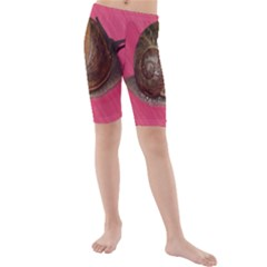 Snail Pink Background Kids  Mid Length Swim Shorts