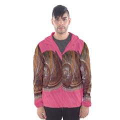 Snail Pink Background Hooded Wind Breaker (Men)