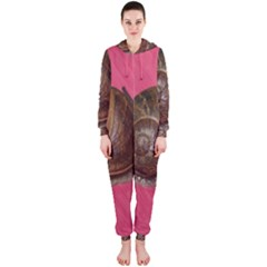 Snail Pink Background Hooded Jumpsuit (Ladies)