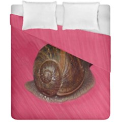 Snail Pink Background Duvet Cover Double Side (California King Size)