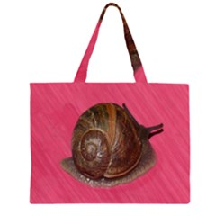 Snail Pink Background Large Tote Bag
