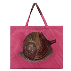 Snail Pink Background Zipper Large Tote Bag
