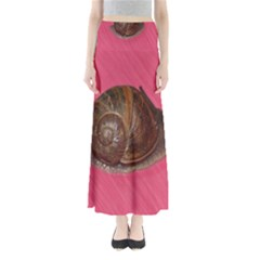 Snail Pink Background Maxi Skirts