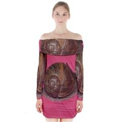 Snail Pink Background Long Sleeve Off Shoulder Dress