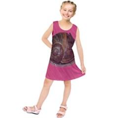 Snail Pink Background Kids  Tunic Dress