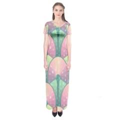 Seamless Pattern Seamless Design Short Sleeve Maxi Dress