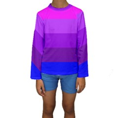 Transgender Flag Kids  Long Sleeve Swimwear