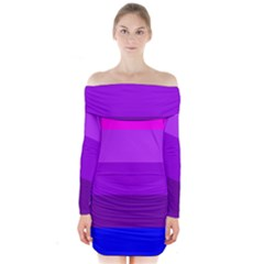Transgender Flag Long Sleeve Off Shoulder Dress