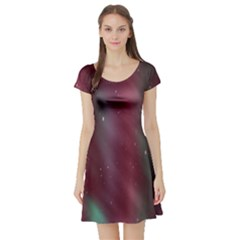 Stars Nebula Universe Artistic Short Sleeve Skater Dress