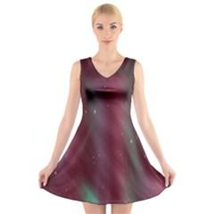 Stars Nebula Universe Artistic V-Neck Sleeveless Skater Dress