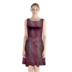 Stars Nebula Universe Artistic Sleeveless Chiffon Waist Tie Dress