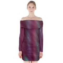 Stars Nebula Universe Artistic Long Sleeve Off Shoulder Dress