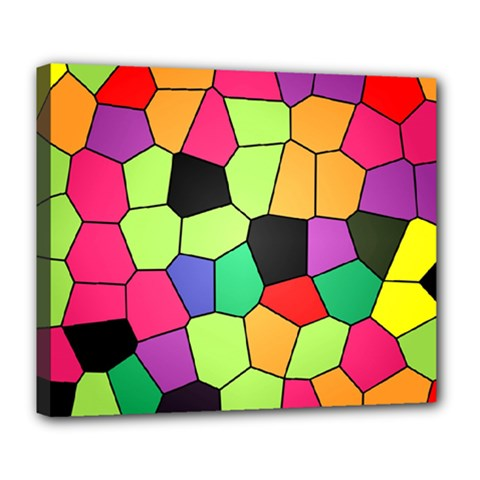 Stained Glass Abstract Background Deluxe Canvas 24  x 20