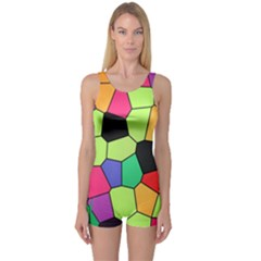 Stained Glass Abstract Background One Piece Boyleg Swimsuit