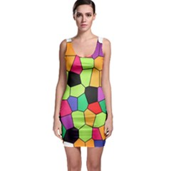 Stained Glass Abstract Background Sleeveless Bodycon Dress