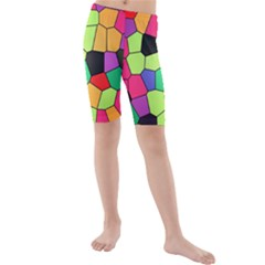 Stained Glass Abstract Background Kids  Mid Length Swim Shorts