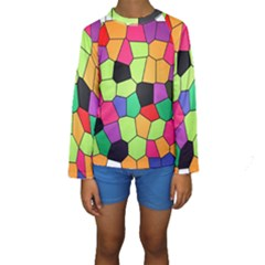 Stained Glass Abstract Background Kids  Long Sleeve Swimwear