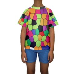 Stained Glass Abstract Background Kids  Short Sleeve Swimwear