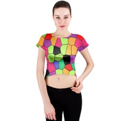 Stained Glass Abstract Background Crew Neck Crop Top