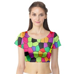 Stained Glass Abstract Background Short Sleeve Crop Top (Tight Fit)