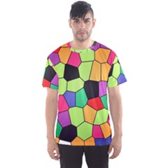 Stained Glass Abstract Background Men s Sport Mesh Tee