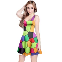 Stained Glass Abstract Background Reversible Sleeveless Dress
