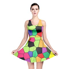 Stained Glass Abstract Background Reversible Skater Dress