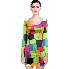 Stained Glass Abstract Background Long Sleeve Bodycon Dress