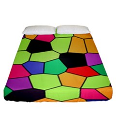 Stained Glass Abstract Background Fitted Sheet (King Size)