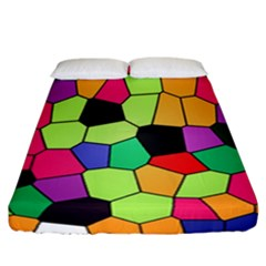 Stained Glass Abstract Background Fitted Sheet (California King Size)