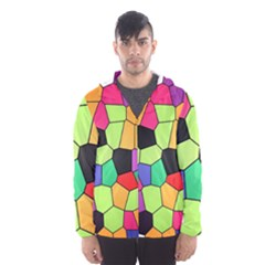 Stained Glass Abstract Background Hooded Wind Breaker (Men)