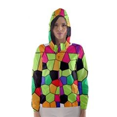 Stained Glass Abstract Background Hooded Wind Breaker (Women)