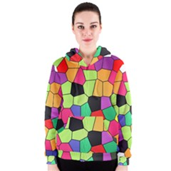 Stained Glass Abstract Background Women s Zipper Hoodie