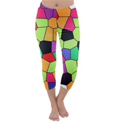 Stained Glass Abstract Background Capri Winter Leggings
