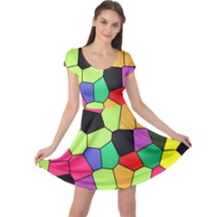 Stained Glass Abstract Background Cap Sleeve Dresses