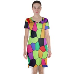 Stained Glass Abstract Background Short Sleeve Nightdress