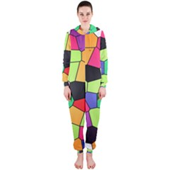 Stained Glass Abstract Background Hooded Jumpsuit (Ladies)