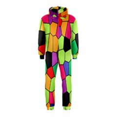 Stained Glass Abstract Background Hooded Jumpsuit (Kids)