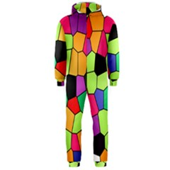 Stained Glass Abstract Background Hooded Jumpsuit (Men)