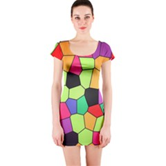 Stained Glass Abstract Background Short Sleeve Bodycon Dress