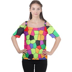 Stained Glass Abstract Background Women s Cutout Shoulder Tee
