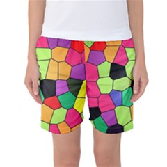 Stained Glass Abstract Background Women s Basketball Shorts