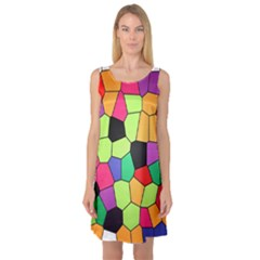 Stained Glass Abstract Background Sleeveless Satin Nightdress