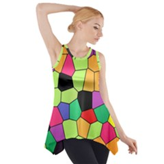 Stained Glass Abstract Background Side Drop Tank Tunic